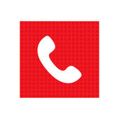 Telephone receiver vector icon. red square icon — Stockvector