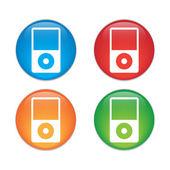 Tragbare Media Player-Symbol. Flaches Design-Stil. Glas Button Icon Set — Stockvektor
