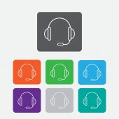 Support vector icon.  headset.  Round squares buttons. Vector — Stock Vector