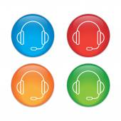 Support vector icon.  headset.  Glass Button Icon Set — Stock Vector