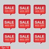 Verkoop Rode plein sticker met per cent geïsoleerd op wit — Stockvector