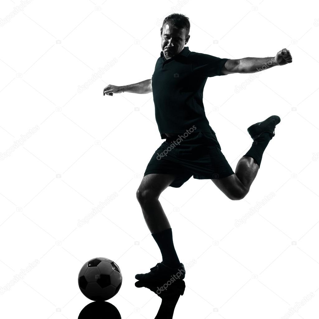 男子足球运动员剪影