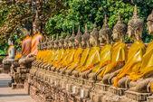 Aligned buddha statues Wat Yai Chai Mongkhon Ayutthaya bangkok T — Photo