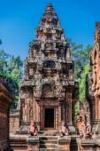 Monkey statues Banteay Srei hindu pink temple Cambodia — Stock Photo