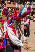 Musicians and dancers in the peruvian Andes at Puno Peru — ストック写真