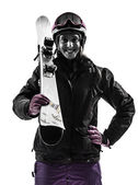 One woman skier portrait  silhouette — Stock Photo