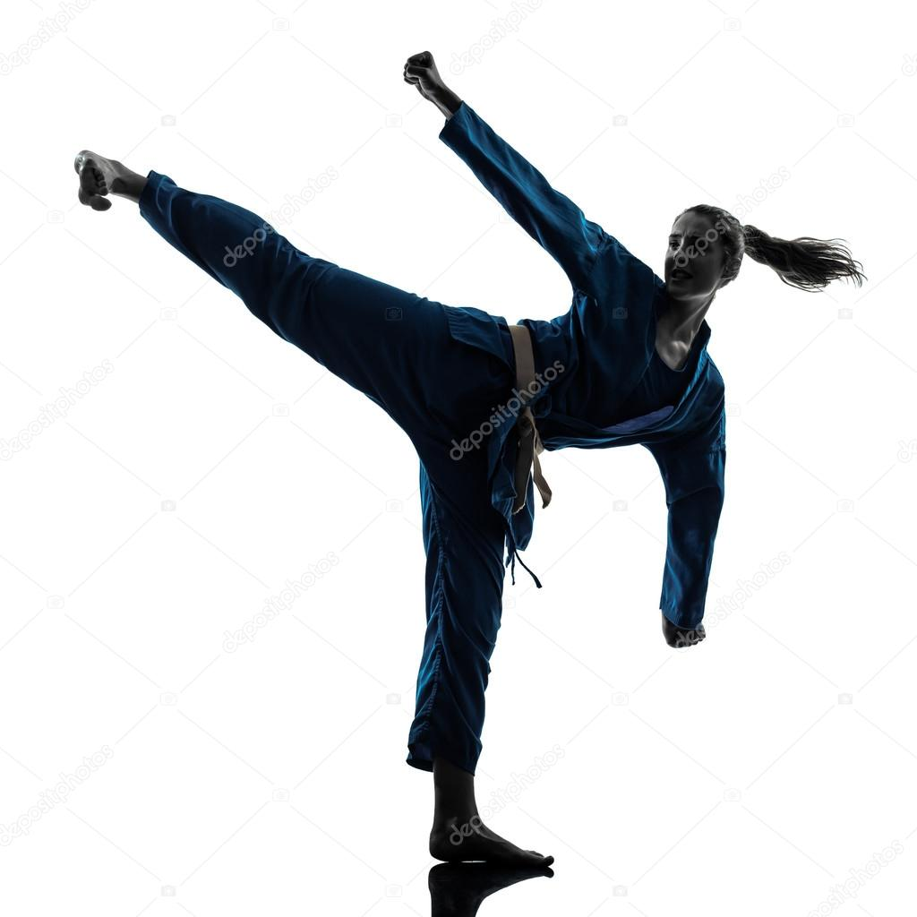 Karate Girl Kick Silhouette images