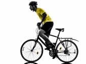 Man bicycling  mountain bike silhouette — Stock Photo