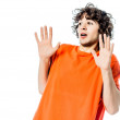 Young man gesturing surprised fear afraid portrait — Stock Photo #60597495