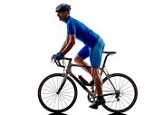 Cyclist cycling road bicycle silhouette — Stock Photo