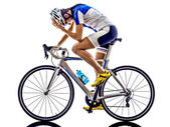 Woman triathlon ironman athlete cyclist cycling — Stock Photo