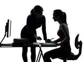 Teacher woman mother teenager girl studying silhouette — Stock Photo