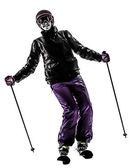 One woman skier skiing silhouette — Stock Photo