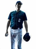 Man baseball player silhouette isolated — Stock Photo