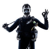 Man scuba diver diving silhouette isolated — Stock Photo