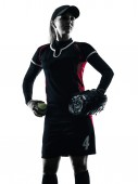 Woman playing softball players silhouette isolated — Stock Photo