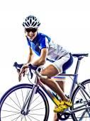 Kobieta triathlon ironman lekkoatletka rowerzysta na rowerze — Zdjęcie stockowe