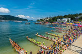 Dragon boats festival race Stanley beach Hong Kong — Stock Photo
