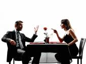 Couples lovers dating dinner  dispute arguing — Stock Photo