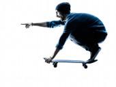 Man skateboardista skateboardingu silueta — Stock fotografie