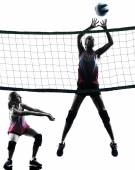 Women volleyball players isolated silhouette — Stock Photo