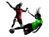 Women soccer players isolated silhouette — Stock Photo