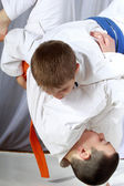 Little sportsmen is doing judo throws — Stock Photo