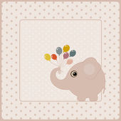 Tarjeta de felicitación de cumpleaños con elefante — Vector de stock