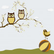 Cute owls on branch with bird on the ball — Stock Vector #53402399