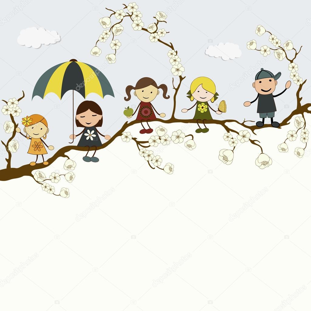 与孩子们可爱的快乐卡通贺卡