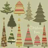 Set of stylized Christmas trees — Stock Vector