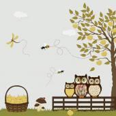 一家人在果园里的苹果的猫头鹰 — 图库矢量图片