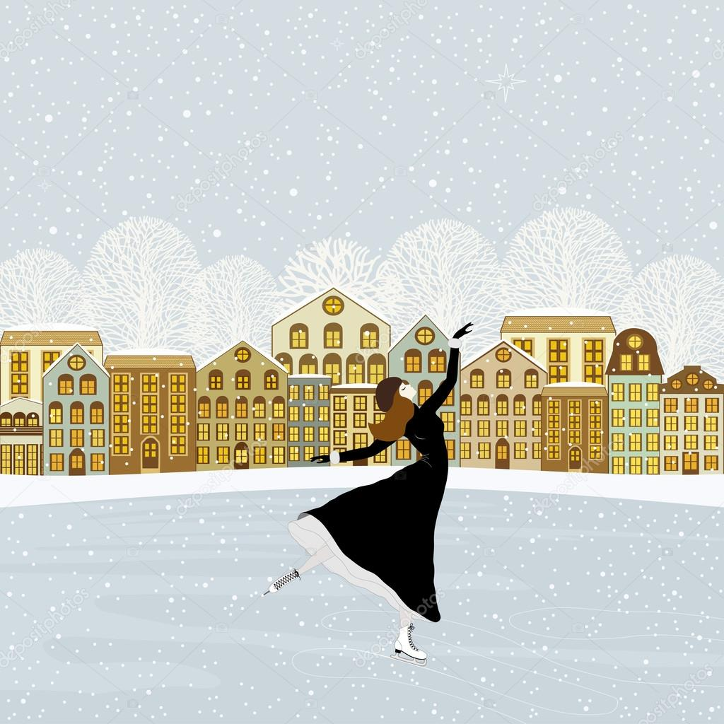 Картинки девушка на коньках зимой
