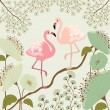 Floral background with flamingos — Stock Vector #58271795