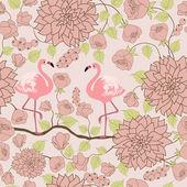 Floral pattern with pair of flamingos — Stok Vektör