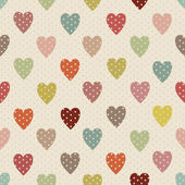 Abstract seamless polka dot pattern with colorful heart — Stock Vector
