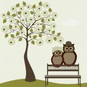 Cute owls with tree roses  — Stock Vector