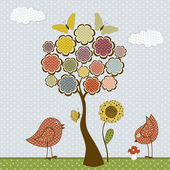 Cute birds and butterflies and tree — Stock Vector