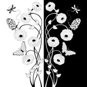 Black and white floral composition — Stock Vector