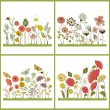 Set of floral card with stylized flowers and butterflies — Stock Vector #67082225