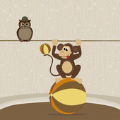 Cute monkey on the ball and owl — Vecteur