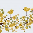 Cute birds on branches with flowers and leafs — Stock Vector #71757495