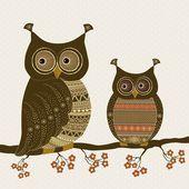 Cute stylized ornamental owls — Stock Vector