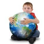 Boy Holding Plant Earth on White Background — Stock Photo