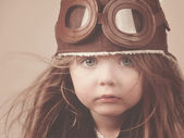 Little Pilot Girl with Hat — Stock Photo