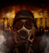 Gas Mask War Soldier in Polluted Danger City — Stock Photo