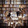 Kids Reading Books in Fantasy Library — Stock Photo #54373189