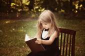 Smart Child Reading Education Book Outside — Stock Photo