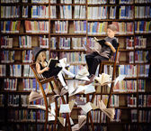 Kids Reading Books in Fantasy Library — Foto Stock