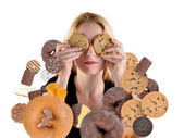 Diet Woman Hiding From Snack Food on White — Stock Photo